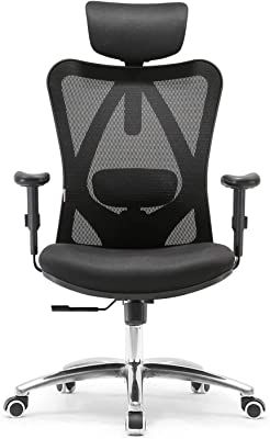 Sihoo Ergonomic Office Chair, Computer Desk Chair, 3D Adjustable High-Back, Breathable Skin-Friendly Mesh with Armrest, Lumbar Support (Black) Chair Black