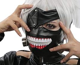 Yezelend 1PCS Cosplay Tokyo Ghoul Kaneki Ken Cremallera Ajustable PU Máscara de Halloween Prop