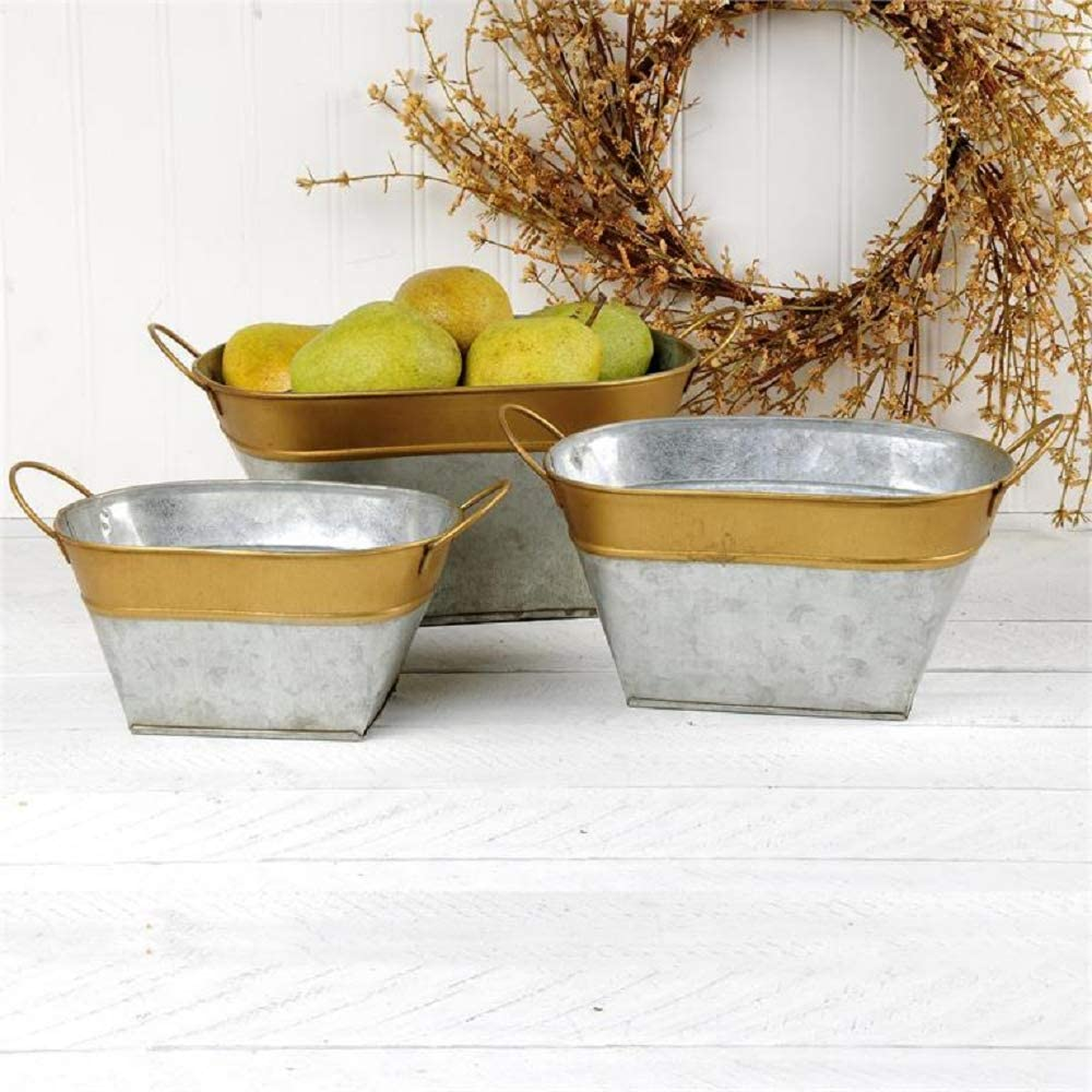 Blossom Bucket OFFer 2066-70201 Oval 2021 spring and summer new Galvanized Gold with Containers R