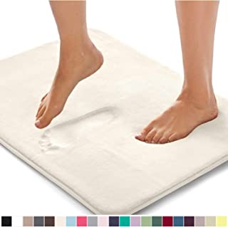 Gorilla Grip Original Thick Memory Foam Bath Rug, 24x17, Cushioned, Soft Floor Mats, Absorbent Premium Bathroom Mat Rugs, Machine Washable, Luxury Plush Comfortable Carpet for Bath Room, Cream
