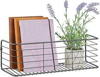 mDesign Estante de metal para baño, cocina, pasillo o lavadero – Estante de pared ancho en alambre de metal – Cestas de rejilla compactas – gris
