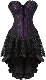 Womens Corset Dress Bustier Top and Steampunk Skirt Sexy Lingerie Gothic Burlesque Costumes for Halloween Costume