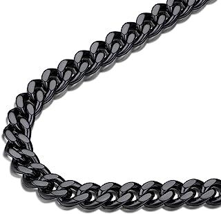 سلسلة رجالية سوداء من FindChic من سلسلة مفاتيح Miami Cuban Link Curb سميكة للرجال الأولاد 7MM 24 بوصة مجوهرات الهيب هوب