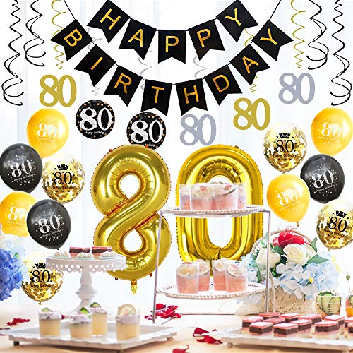 HankRobot 80th Birthday Decorations Party Supplies(42pack) Gold Number Balloon 80 Happy Birthday Banner Latex Balloons(Black, Golden) Confetti Balloons -Great for 80 Eighty Years Old Birthday Party