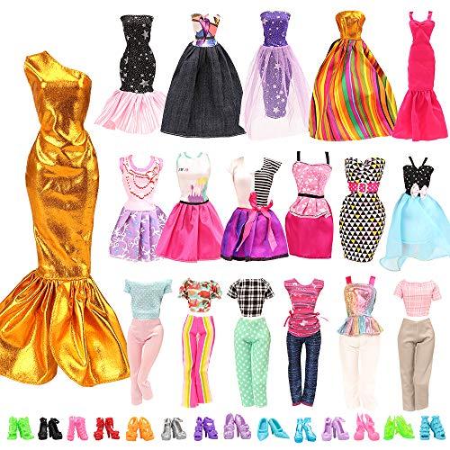 Miunana 20 Kleidung Schuhe für Puppen = 10 modische Partymoden Urlaubstag Kleidung Kleider Outfit + 10 Schuhe für 11,5 Zoll Mädchen Puppen Geschenke