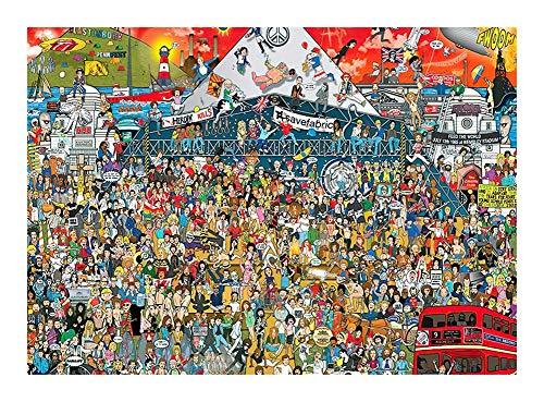 Puzzle Loco y Divertido Festivales de música en Londres Rompecabezas 300/500/1000 Piezas for Adultos de los niños, único Corte de Piezas entrelazadas (Madera) (Size : 1000pcs )