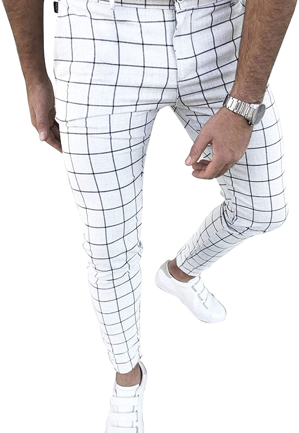 famous Cheap mail order specialty store Men's Business Pants Skinny Fit Flat-Front Stretch Slim St Plaid