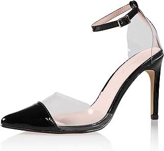 JSUN7 Women's Fashion Ankle Strap Open Round Toe Summer Prom Stiletto High Heel Sandal Pump Shoe