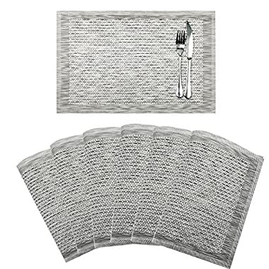 SHACOS Set of 6 Placemats for Dinning Table,PVC Woven Vinyl Table Mats,Washable and Heat Insulation Kitchen Place Mats(6, Silver)