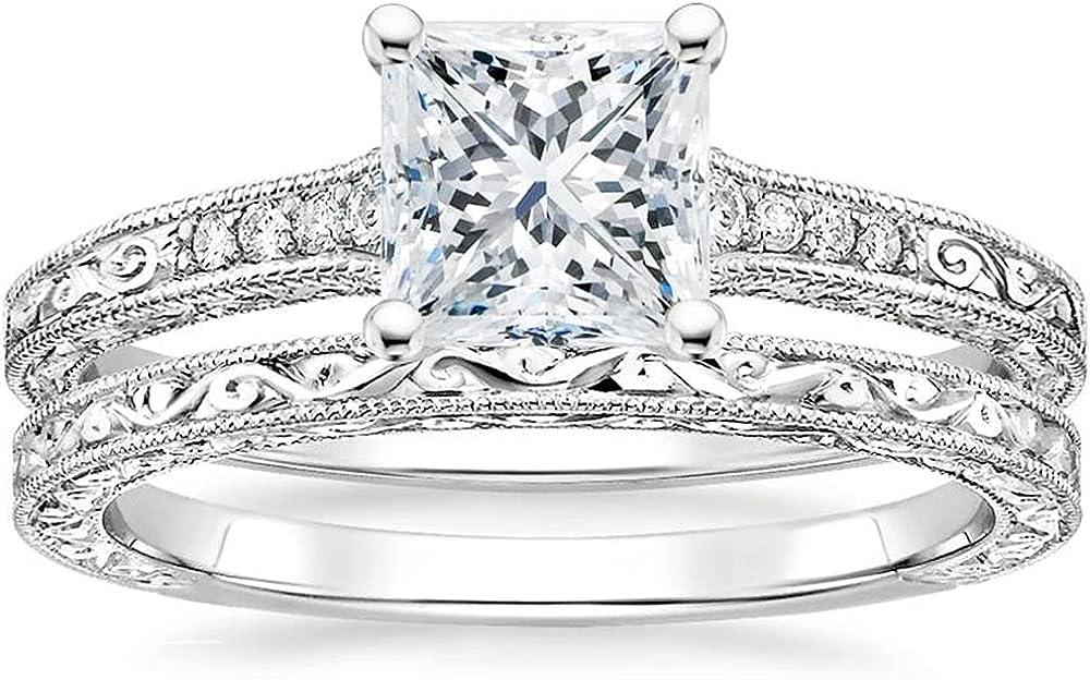 Vintage Bridal Ring Max 70% OFF Set for Rare Cut Princess Sets Women Weddi