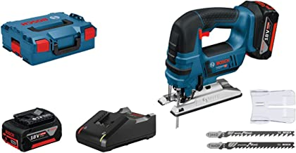 Bosch Professional GST 18V-LI B - Sierra de calar a batería (2 baterías x 4.0 Ah, 18V, profundidad de corte 120 mm, en L-BOXX)