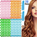 Hair Curlers 28 Pcs Styling Kit No Heat Hair Curlers Magic Hair Curlers Heatless Wave Style Hair Rollers Spiral Curls with Styling Hooks for Women Girls Extra Long Hair Styling Tools (50cm)
