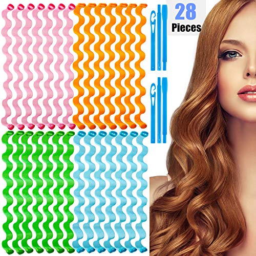 Hair Curlers 28 Pcs Styling Kit No Heat Hair Curlers Magic Hair Curlers Heatless Wave Style Hair Rollers Spiral Curls with Styling Hooks for Women Girls Extra Long Hair Styling Tools (30cm)