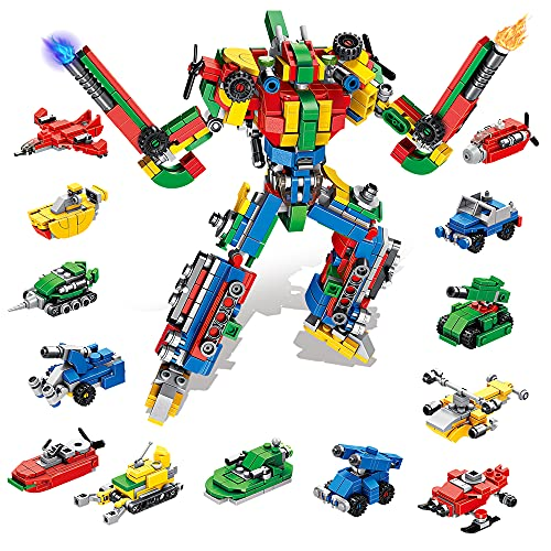 VATOS STEM Construction Toys - 644 PCS Alphabets Robot Building Blocks 27-in-1 Building Toys for Boys Girls Kids Age 5 6 7 8 9 10 11 12 Years Olds Gift