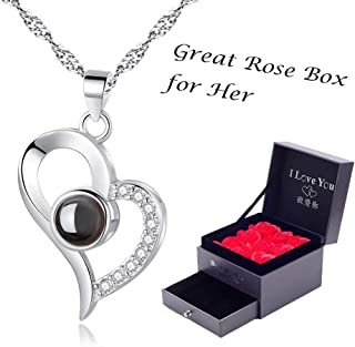 Woman Necklace Love Memory 925 Silver Projection Pendant 100 Languages I Love You to Lover Grilfriend ¡­
