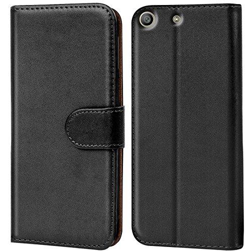Conie Handyhülle für Sony Xperia M5 Hülle, Premium PU Leder Flip Hülle Booklet Cover Weiches Innenfutter für Xperia M5 Tasche, Schwarz