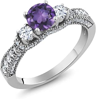 Gem Stone King 1.97 Ct Round Purple Amethyst and White Topaz 925 Sterling Silver Women's Ring (Available 5,6,7,8,9)