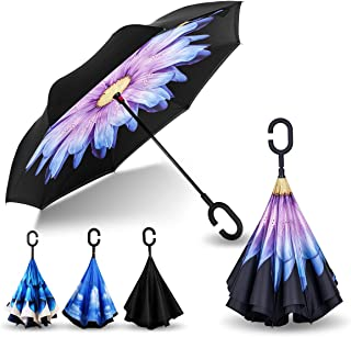 AmbrellaOK Double Layer Inverted Umbrella for Car Reverse Folding Upside Down C-Shaped Hands Free Handle - Compact Lightweight & Windproof – Ideal Gift Men & Women