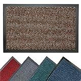 BRAVICH® Brown Large Non-Slip Heavy Duty Entrance Door Mat Commercial Office Outdoor Dirt Trapper Barrier Mat Indoor Rubber Washable Mats Runner Premium High Qualtiy 80x120cm (2'6x4')