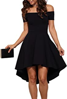 6a134b98ff1f Sarin Mathews Womens Off The Shoulder Short Sleeve High Low Cocktail Skater  Dress