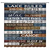 Sunhe Lake Rules of Cabin Shower Curtain Vintage Wooden Lake Rules...