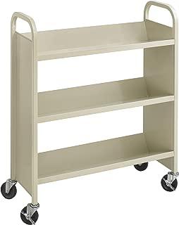 Safco Products Single-Sided Book Cart Sand, Heavy Duty, Swivel Wheels, 3 Slanted Shelves
