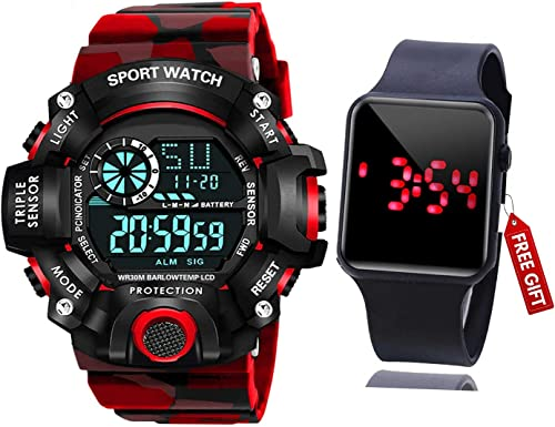 Brand A Digital Watch with Square LED Shockproof Multi Functional Automatic Red Color Army Strap Waterproof Digital Sports Watch for Men s Kids Watch for Boys Watch for Men Pack of 2