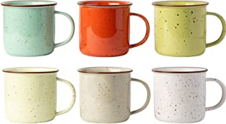 Ceramic Speckled Campfire Mug – Set of 6 Multicolored Coffee Cups – Camping..