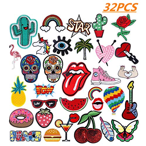 Patch Sticker 32PCS Cute DIY Ropa Parches para la camiseta Jeans Ropa Bolsas