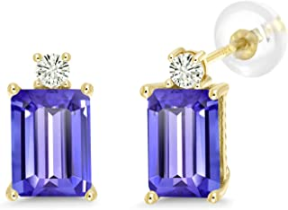 10K Yellow Gold Stud Earrings Emerald Cut Blue Tanzanite and Forever Classic Created Moissanite 0.12ct (DEW) by Charles & Colvard
