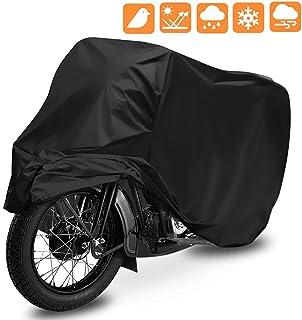 Funda para Moto, opamoo Cubierta de Motocicleta Impermeable Funda Protector 190T Cubierta de la Moto a Prueba de UV Lluvia Polvo 245 x 125 x 105 cm con el Bolso del Almacenaje (Negro)