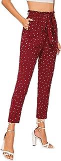 WDIRARA Women's Slim Casual Trouser Paper Bag Elastic Waist Pants with Pockets