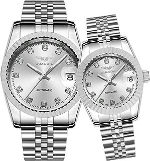 Guanqin Men Women Couple Automatic Self Winding Luminous Date Wrist Watch Set with Steel Band Silver White