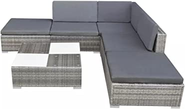 Festnight Garden Lounge Set Patio Safe Set 15 Pcs with Table Furniture Set for Family Party and Gathering Poly Rattan Grey