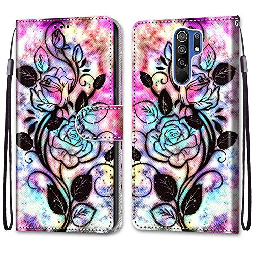 IMEIKONST Flip Case for Redmi 9 Cute Creative Painted Designed Premium PU Leather Wrist Strap Wallet Magnetic Stand Box Cover for Xiaomi Redmi 9 Black Flower DK