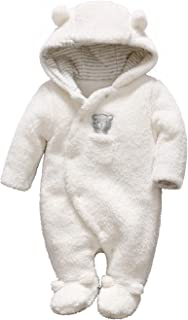 TTKA Newborn Baby Winter Snowsuit Warm Romper Bear Soft Coral Fleece Romper Hooded Plush Jumpsuit