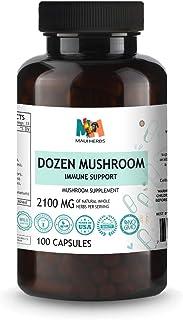 Dozen Mushroom Immune Support 100 Vegan Capsules (Agaricus, Chaga, Agarikon, Lion's Mane, Turkey Tails, Maitake, Reishi, C...