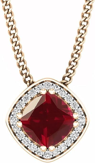 10K or 1 Ct Ovale Rubis et Halo Diamant Collier en 3 or couleurs