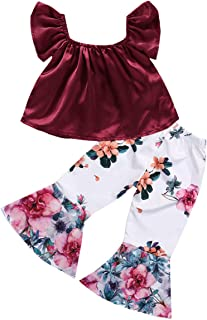 YOUNGER TREE 2PCS Toddler Kids Baby Girls Off Shoulder Top + Floral Bell-Bottoms Pants Outfit Clothes Set