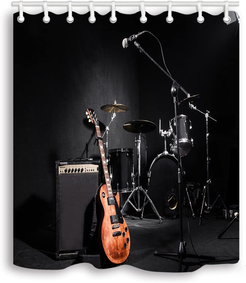 NYMB Bargain Music Shower Popular brand Curtains Set Musical Instruments Guitar with