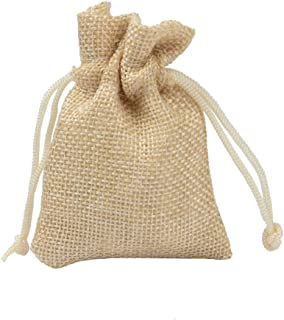 50 Drawstring Burlap Bags, Jewelry Favors Bags for Wedding Party Christmas, 17X23cm,Beige
