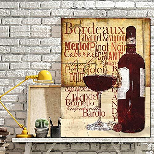 Rotweingläser Flasche Poster Print Küche Ölgemälde auf Leinwand Wandkunst Malerei Bar Esszimmer Dekoration 40x50cm