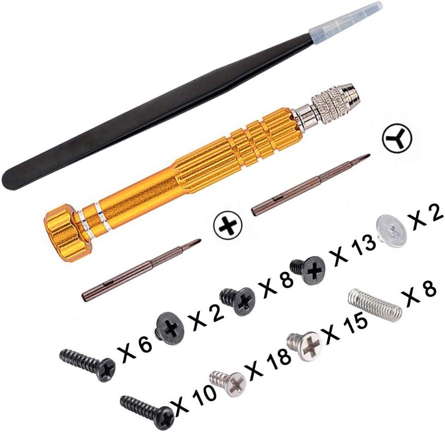 eXtremeRate Kit de Destornillador de Cruz Phillips Conjunto de Herramientas de Montaje y desmontaje con Muelle Pinzas y Tornillos para la Consola Compatible con Nitendo Switch Joy con