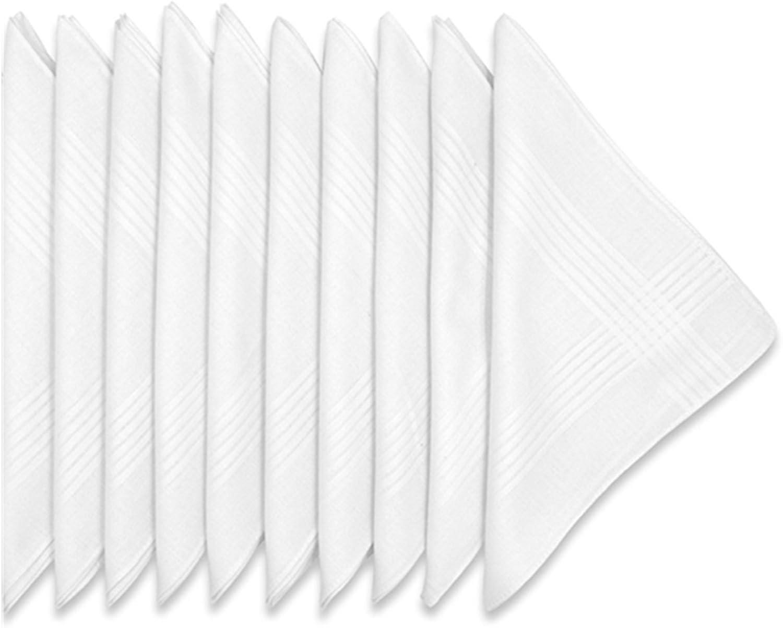 LULUSILK Mouchoirs blancs pour homme et femme en tissu 100/% Coton