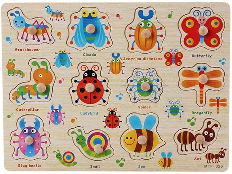 mejor opcion Ogquaton Puzzles sobre estacas de Madera Madera Madera para Niños pequeños Educación Preescolar Desarrollo de la educación temprana de Colors Puzzles de Rompecabezas de 1 Pieza Insectos Duraderos y prácticos  Sin impuestos