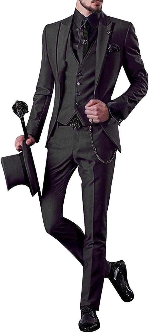 Fahion Men's Suits 3 Pieces Notch Lapel Slim Fit Tuxedos Groomsmen Suit Wedding (Blazer Vest Pants) 2019(Black,34US)