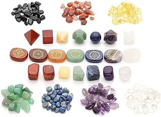 Top Plaza 7 Chakra Healing Crystals Natural Gemstones Kit W/Platonic Solids Crystals,Chakra Symbol Holistic Balancing Stones,Tumbled Palm Stones,Chip Stones for Reiki,Yoga Meditation,Wicca,Therapy