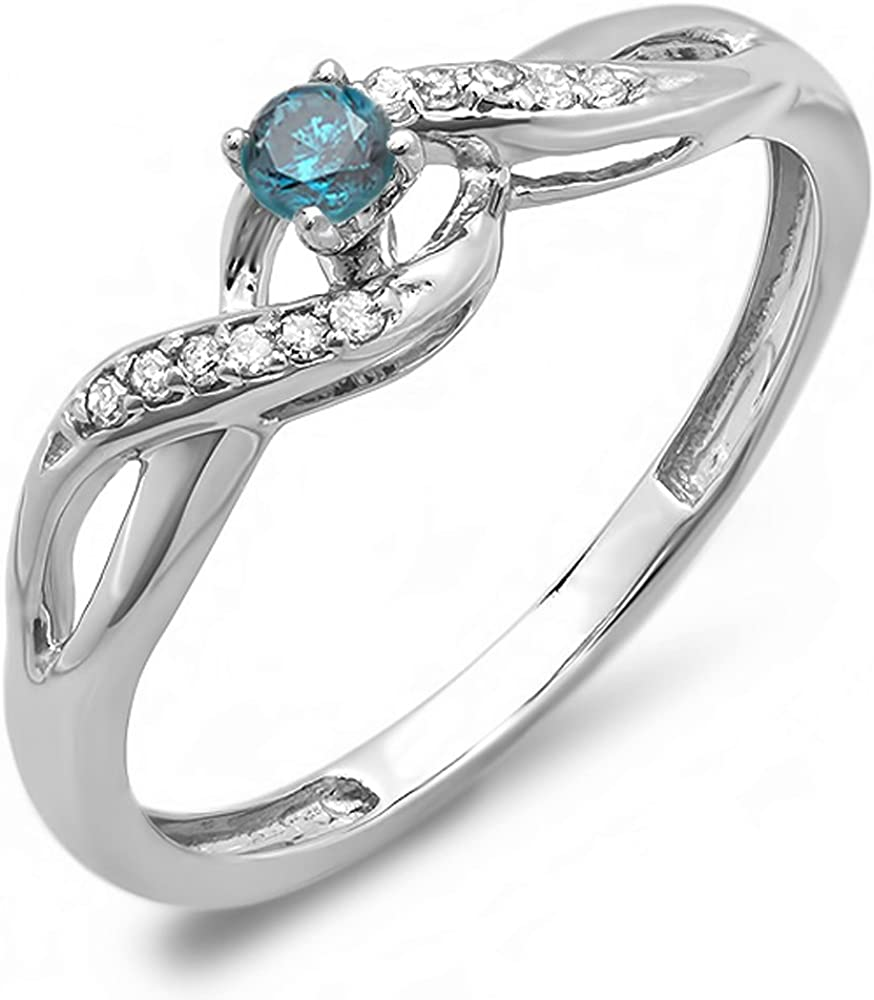 Dazzlingrock Collection 0.20 Carat (ctw) 18k Round Blue and White Diamond Crossover Swirl Bridal Promise Ring 1/5 CT, White Gold