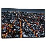 HUAYIJIE Impresión abstracta sobre lienzo de la ciudad, 16 x 12 pulgadas, avenidas convergentes hacia el centro de Nueva York, Arquitectura aérea para el hogar, cuarto de baño, decoración de pared