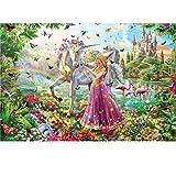 Puzzles for niños Dinosaurios Unicornio del Arco Iris Princesa Escena de la fantasía 3D de 500 Piezas de Puzzle